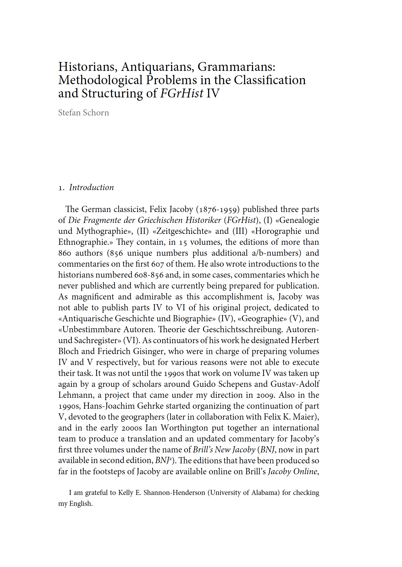Historians, Antiquarians, Grammarians: Methodological Problems in the Classification and Structuring of FGrHist IV