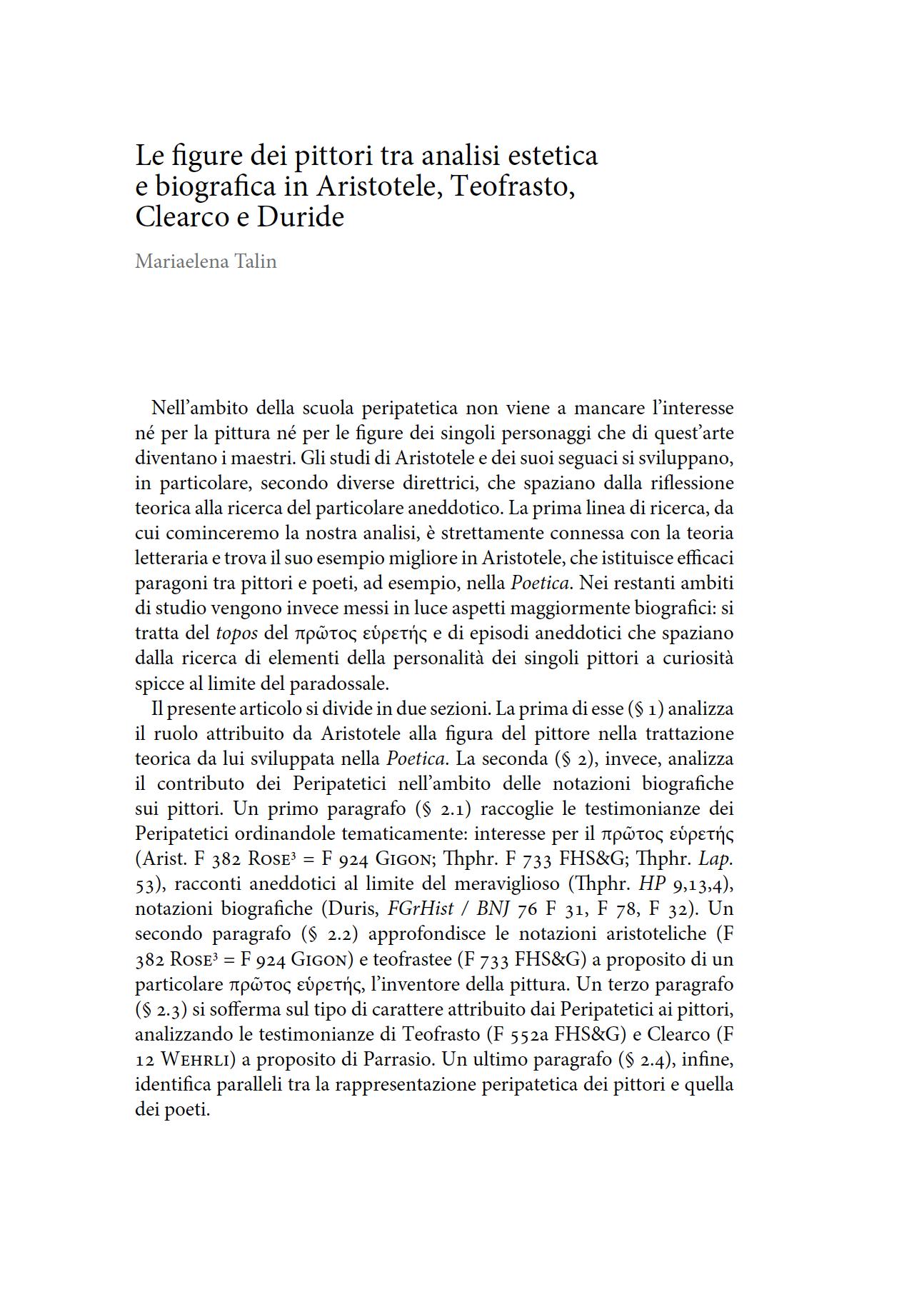 Le figure dei pittori tra analisi estetica e biografia in Aristotele, Teofrasto, Clearco e Duride