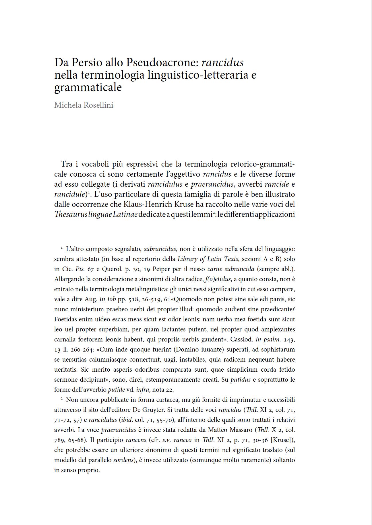 Da Persio allo Pseudoacrone: rancidus nella terminologia linguistico-letteraria e grammaticale