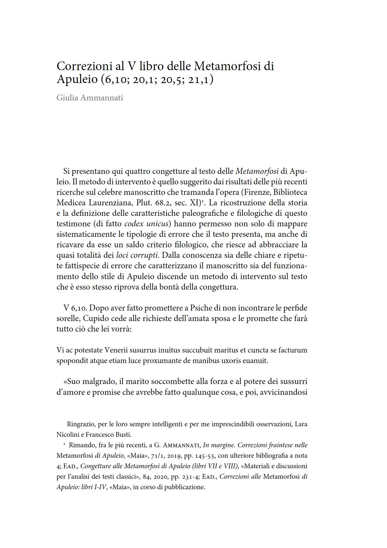 Correzioni al V libro delle Metamorfosi di Apuleio