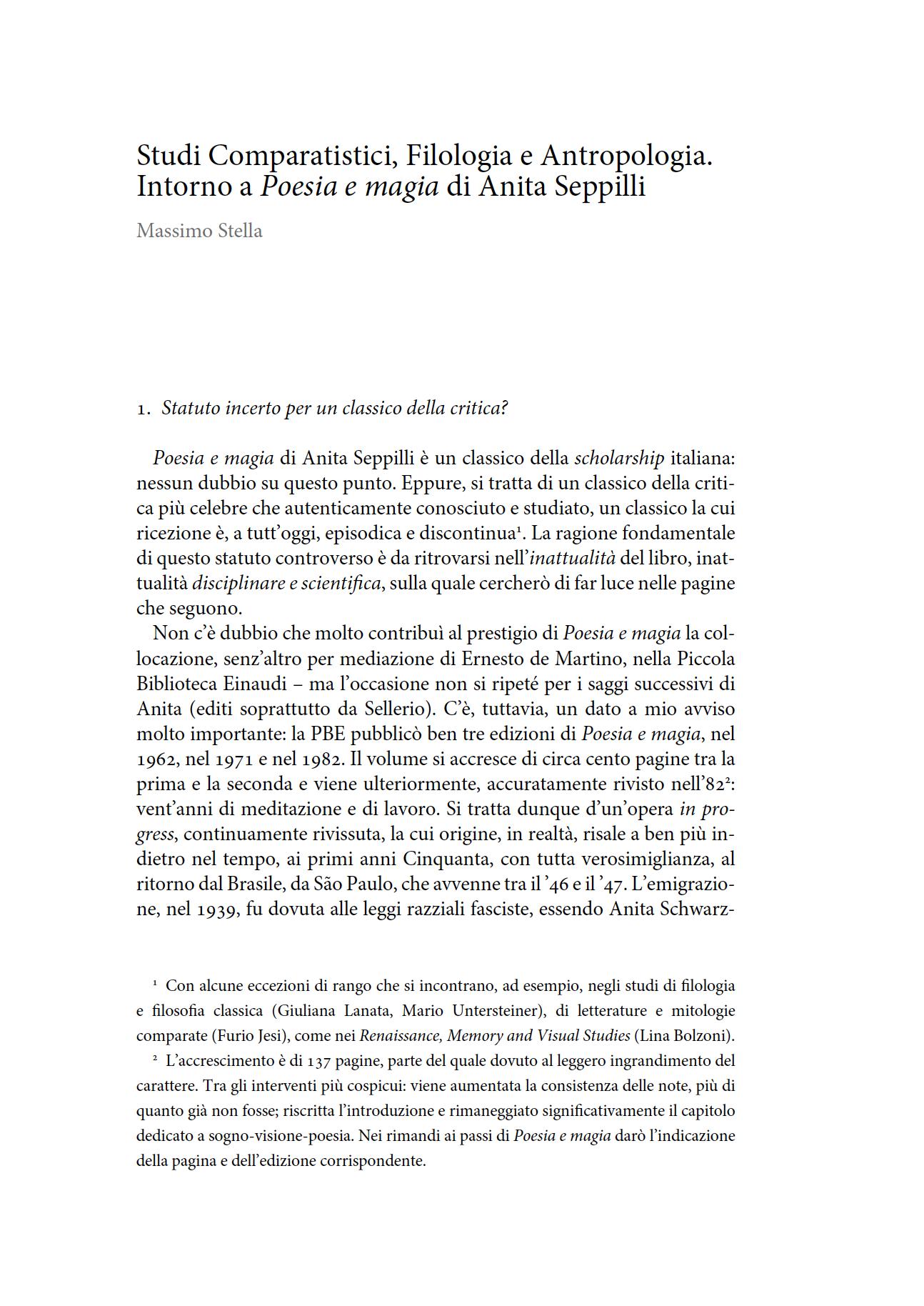 Studi Comparatistici, Filologia e Antropologia. Intorno a Poesia e magia di Anita Seppilli