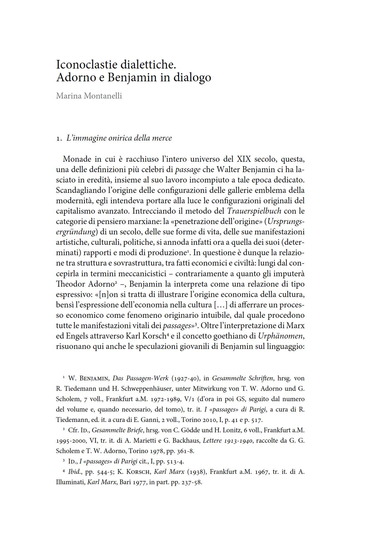 Iconoclastie dialettiche. Adorno e Benjamin in dialogo