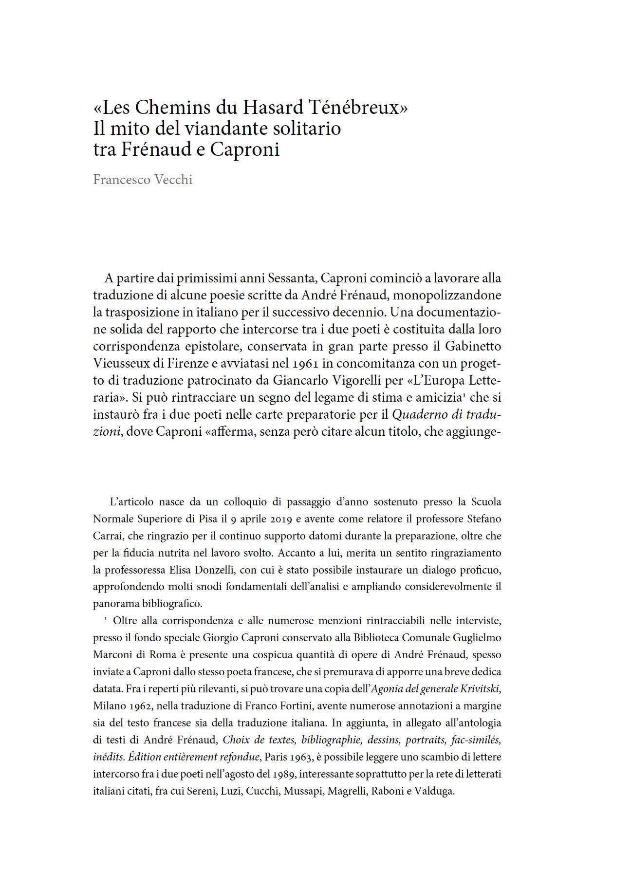 «Les Chemins du Hasard Ténébreux». Il mito del viandante solitario tra Frénaud e Caproni