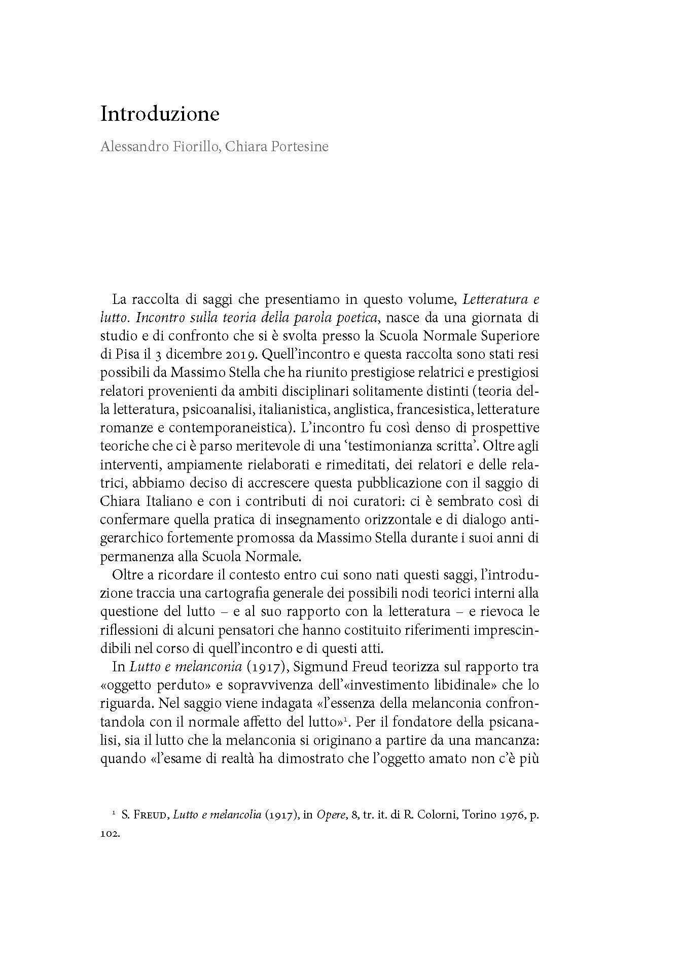 Letteratura, Lutto, Introduzione
