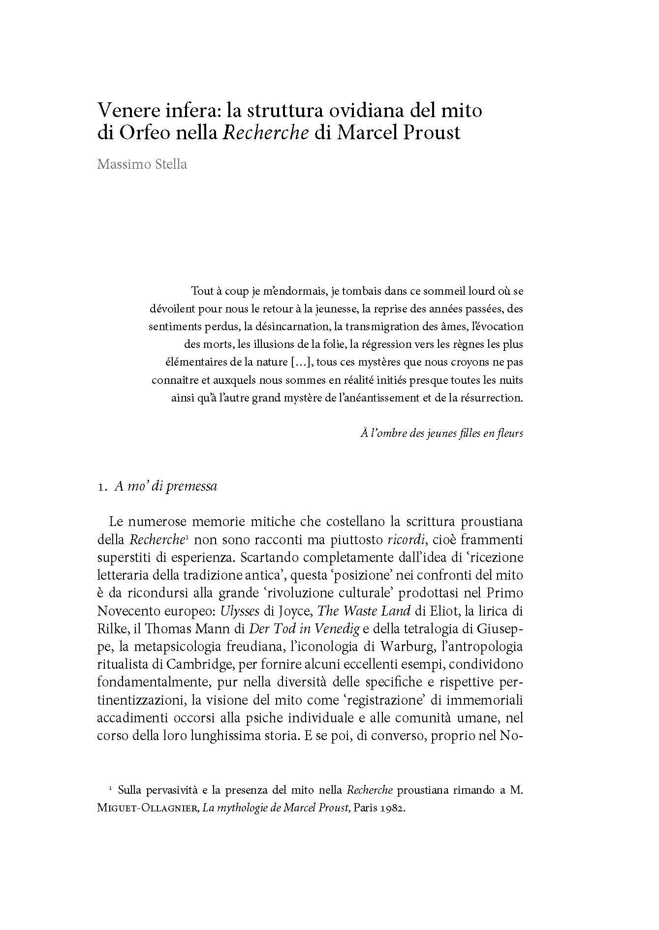 Venere infera: la struttura ovidiana del mito di Orfeo nella Recherche di Marcel Proust