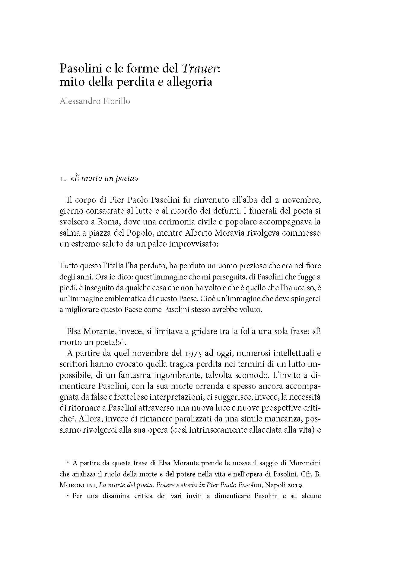 Pasolini e le forme del Trauer: mito della perdita e allegoria