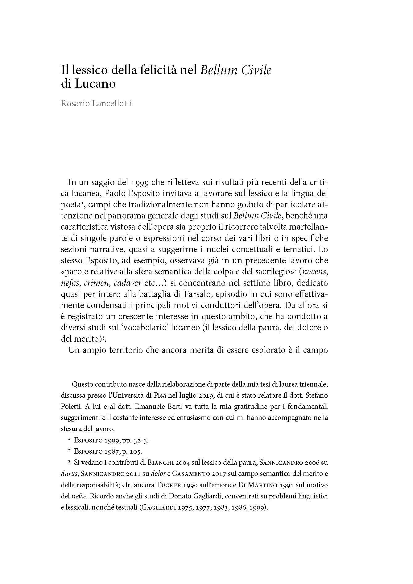 Il lessico della felicità nel Bellum civile di Lucano