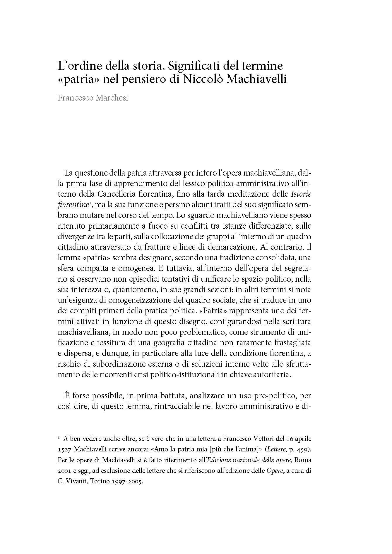 """L'ordine della storia. Significati del termine """"patria"""" nel pensiero di Niccolò Machiavelli"""
