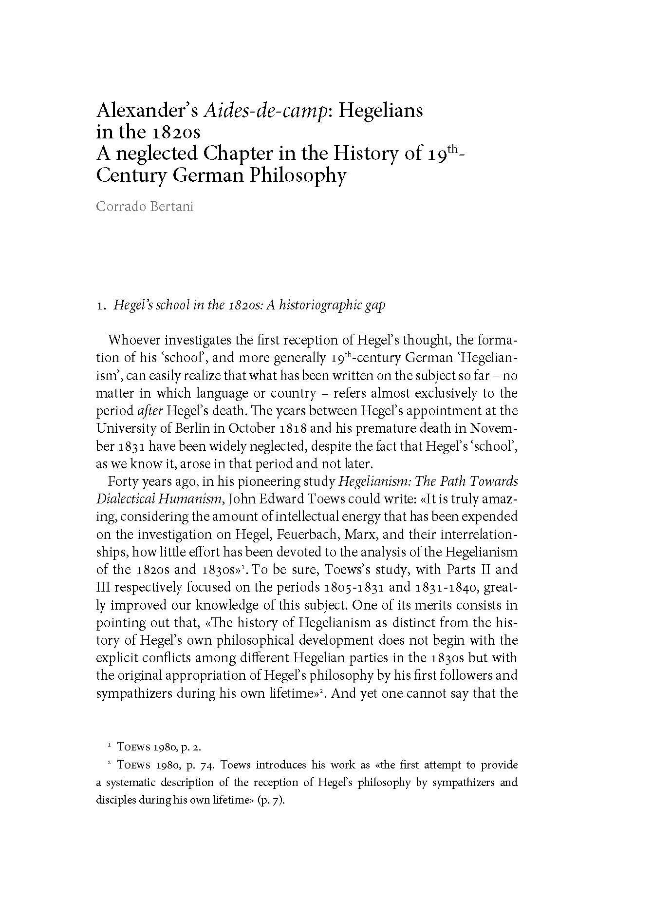 Alexander's Aides-de-Camp: Hegelians in the 1820s.