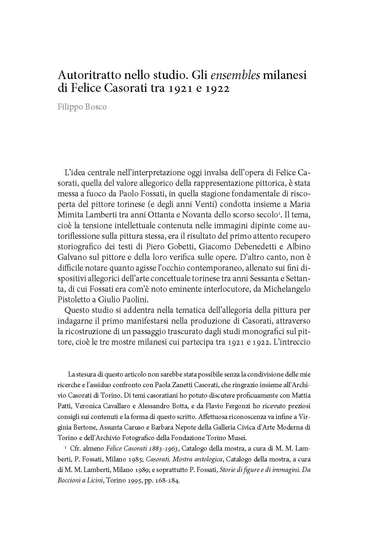 Gli ensembles milanesi di Felice Casorati tra 1921 e 1922