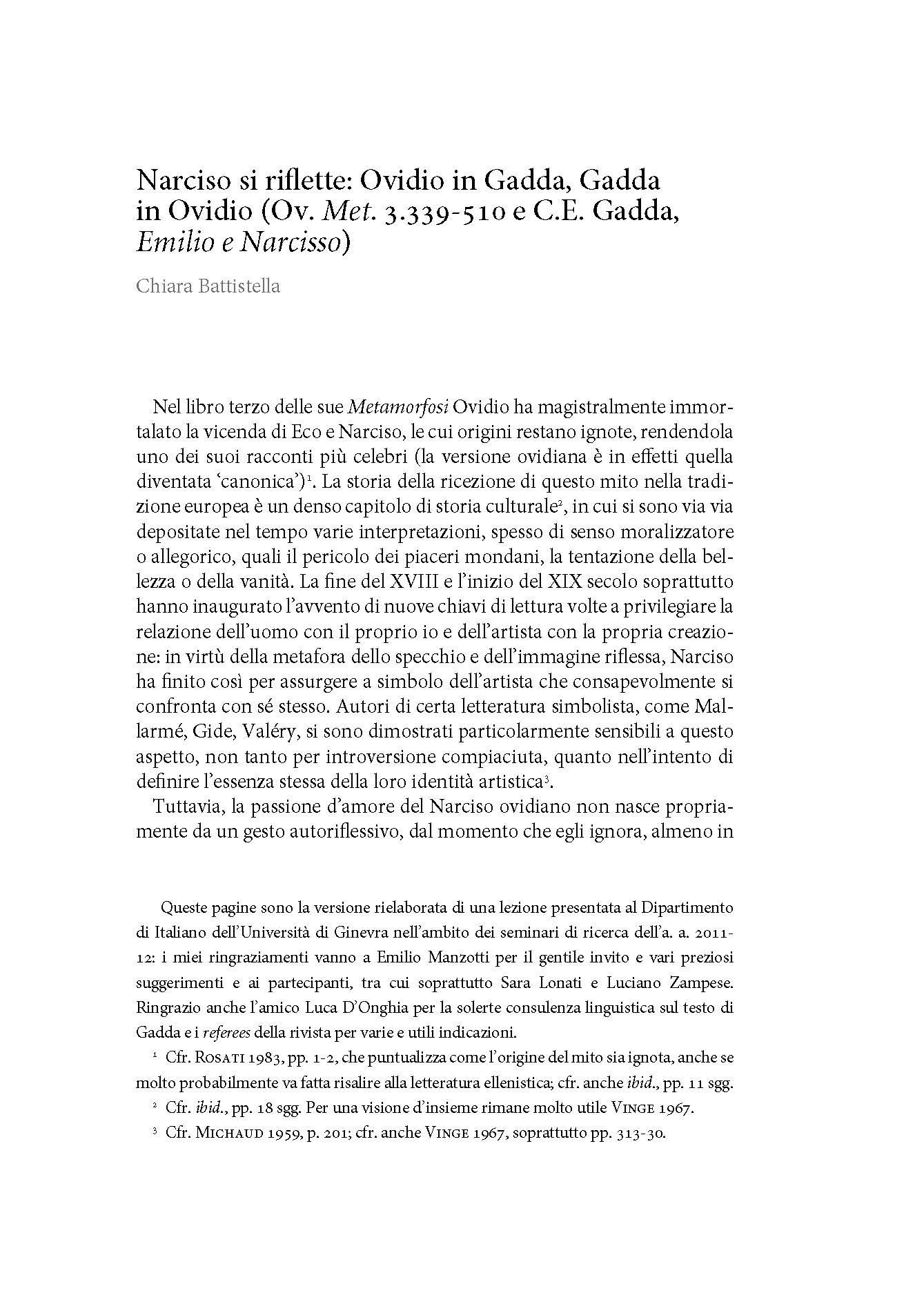 Narciso si riflette: Ovidio in Gadda, Gadda in Ovidio