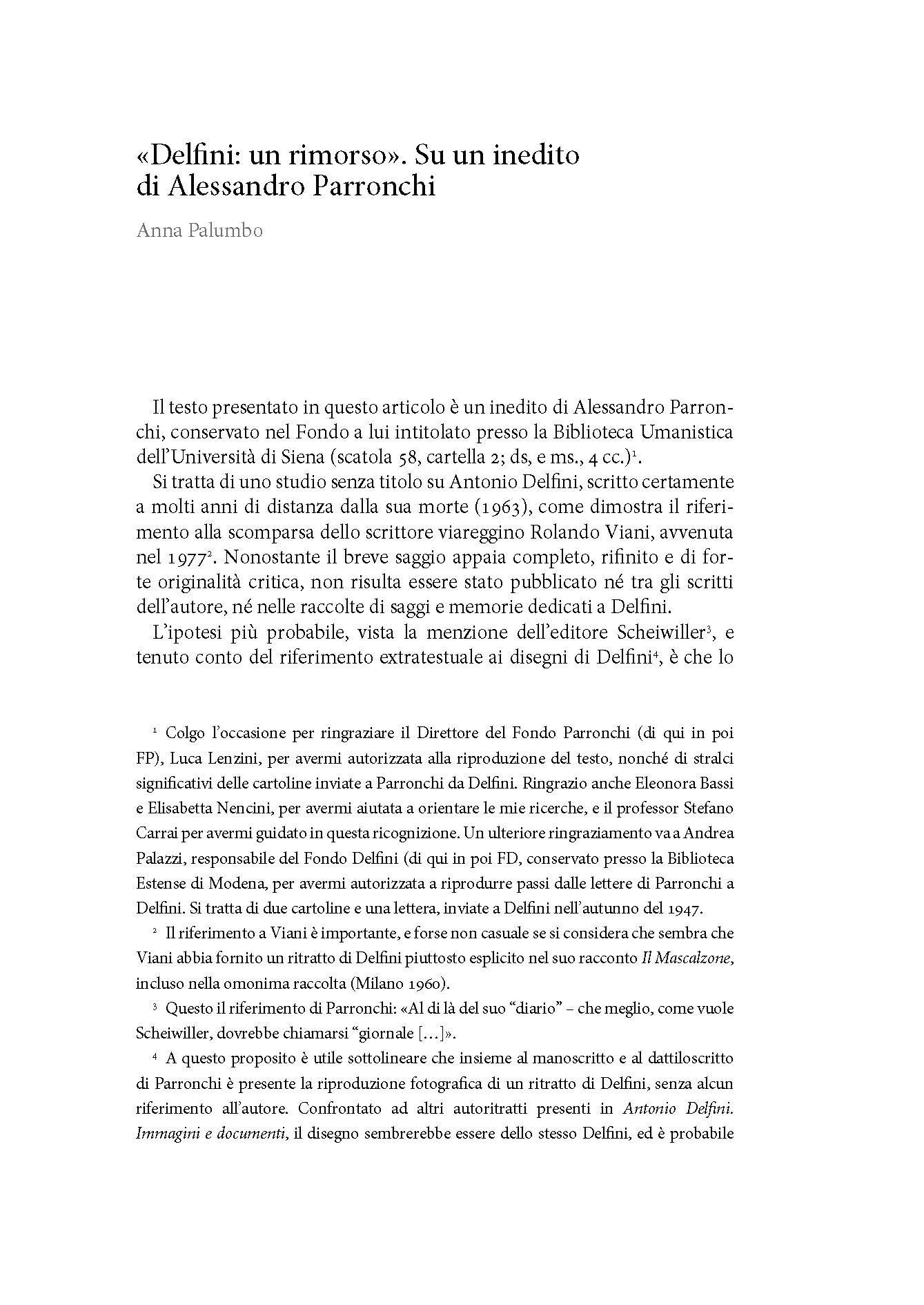 """""""Delfini: un rimorso"""". Su un inedito di Alessandro Parronchi"""