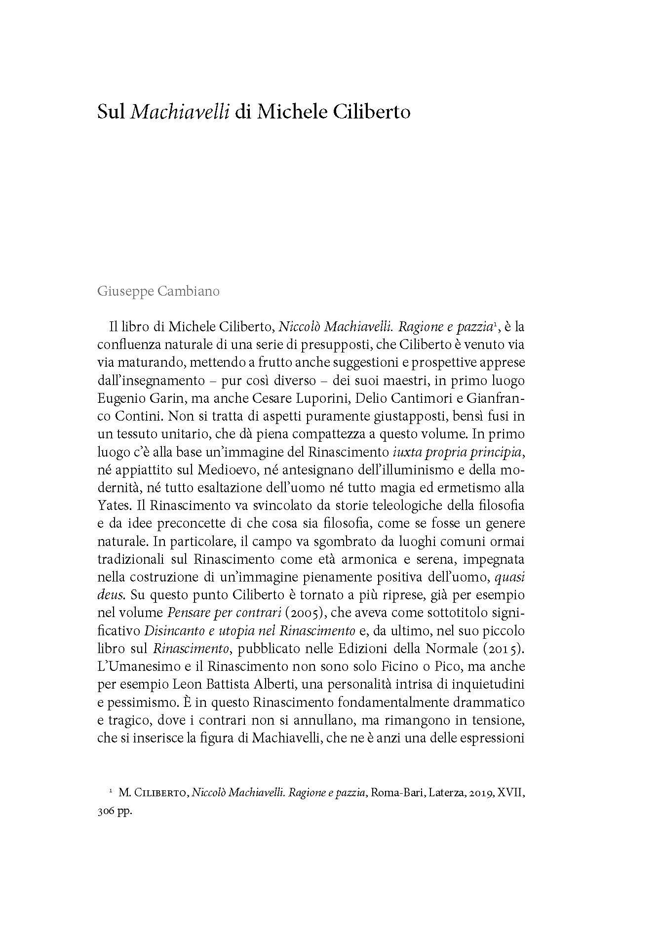 Sul Machiavelli di Michele Ciliberto